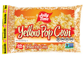 Jolly Time Yellow Unpopped Popcorn Kernels. A 2 pound poly bag of whole grain, non-GMO and gluten-free popping corn.