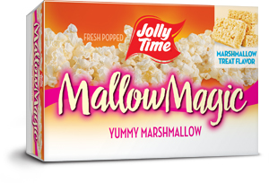 Jolly Time Mallow Magic Microwave Popcorn. A sweet dessert popcorn that kids love. Yummy marhmallow flavor with topping sauce.