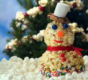 Holiday Popcorn Snowman Craft for Kids