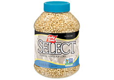 Jolly Time Select White Popcorn Kernels. A jar of tender, gourmet unpopped kernels. Natural flavor whole grain popping corn thumbnails