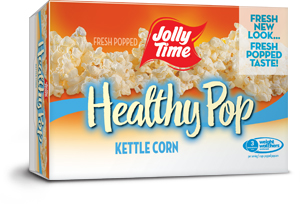 Jolly Time Healthy Pop Kettle Corn Microwave Popcorn. 94% fat free sweet salty kettle corn flavor endorsed by Weight Watchers thumbnail