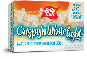 Jolly Time Crispy 'n White Light Microwave Popcorn. A lower calorie, natural flavor made from tender white whole grain kernels.