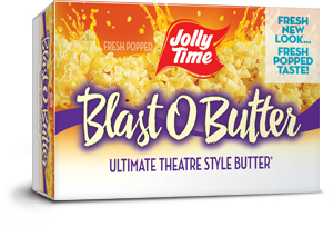 Jolly Time Blast O Butter Microwave Popcorn. Our best butter popcorn with a movie theater style extra buttery flavor thumbnail.