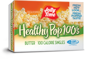 Jolly Time Healthy Pop Butter Microwave Popcorn Mini Bags. 100 calorie popcorn bags equal to 3 Weight Watchers points.