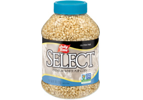Jolly Time Select White Popcorn Kernels. A jar of tender, gourmet unpopped kernels. Natural flavor whole grain popping corn.