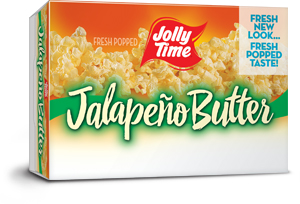 Jolly Time Jalepeno Butter Microwave Popcorn. A spicy, gourmet mexican style popcorn with hot pepper and buttery flavors.