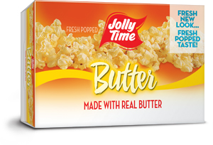 Jolly Time Butter Microwave Popcorn. A classic buttery popcorn flavor made with the trans-fat free Smart Balance oil blend.
