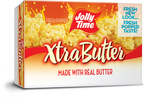 Jolly Time Xtra Butter Microwave Popcorn. An extra buttery flavor made with the trans-fat free Smart Balance oil blend.