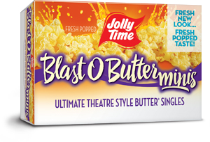 Jolly Time Blast O Butter Microwave Popcorn Mini Bags. A buttery movie theater style popcorn in single serve snack size bags.