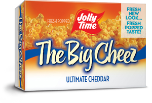 Jolly Time The Big Cheez Microwave Popcorn. A gourmet cheddar cheese flavored popcorn containing gluten-free, non-GMO kernels.