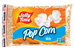 Jolly Time White Unpopped Popcorn Kernels. Tender white natural flavor butterfly kernels for stovetop popping or air poppers.
